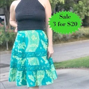 Anthropologie ODILLE floral SKIRT Lace neon green